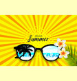 summer time sunglasses halftone pop art vector image