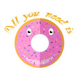 sweet glaze pink donut fast food icon flat design vector image