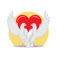 two doves rise wings up on background of red heart vector image vector image