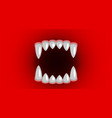vampire fangs canines on red background vector image vector image