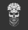 vintage monochrome road cyclist bearded skull vector image vector image
