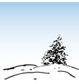 winter background ink fir and snow vector image vector image