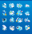wireless technology isometric icons vector image vector image