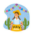 woman with accordion and party banner decoration vector image