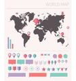World map with set info graphics elements flat vector image