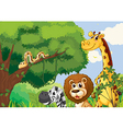 A forest with scary wild animals vector image vector image