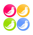 abstract dove bird color round icons vector image vector image