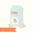 almond milk in a carton pack vector image vector image