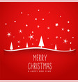 awesome red merry christmas tree background vector image vector image