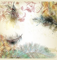 background with bird feathers in realistic style vector image vector image