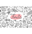 background with various fruits and an inscription vector image vector image