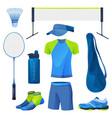 badminton equipment sport tools set icons