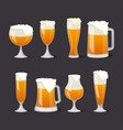 beer mugs with foam set in cartoon style vector image