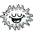 black and white happy freehand drawn cartoon vector image