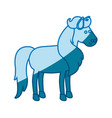 blue silhouette of horse with mane and tail vector image