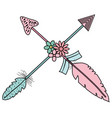 bohemian arrows crossed with feathers and flowers vector image vector image