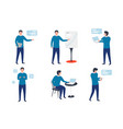 business man in different work situations vector image