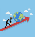 business people pushing the world on graph up vector image vector image