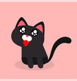 cartoon black cat cheerful emotion pink background vector image