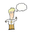 cartoon bored man asking question with thought vector image vector image