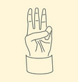 cartoon hand showing three fingers up flat icon vector image vector image