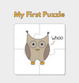 cartoon owl puzzle template for children vector image vector image