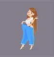 cartoon woman after weight-loss is try her old vector image
