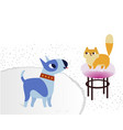 cat and dog characters bullterrier and cat vector image vector image