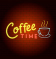 Coffee time logo neon light icon realistic style
