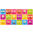 Colorful square funny face of monsters with