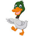 Cute baby duck waving hand vector image vector image
