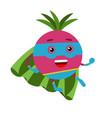cute cartoon radish superhero in mask and green vector image