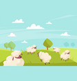 cute sheeps grazing green meadows and blue vector image vector image