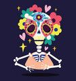 day dead skeleton skull flowers decoration vector image