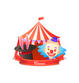 ears in hat clown and tent circus poster vector image