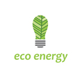 eco bulb with leaf vector image vector image
