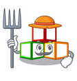 farmer bright toy block bricks on cartoon vector image vector image