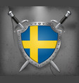 flag of sweden the shield with national flag two vector image vector image