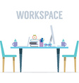 Flat Design Two Sides Workspace vector image vector image