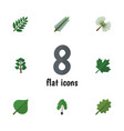 flat icon bio set of alder oaken forest and vector image vector image