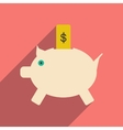 Flat with shadow icon piggy bank and dollar vector image vector image