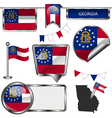 Glossy icons with Georgian flag vector image vector image