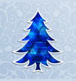 glowing blue christmas tree design elements vector image vector image