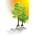 green trees and sun vector image vector image