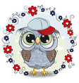 greeting card cute owl with flowers vector image vector image