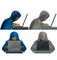 hackers black hooded figures collection vector image vector image