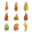 Hand Drawn Feather Set In Watercolors vector image
