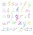 Hand drawn watercolor alphabet vector image