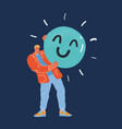 happy smile angry man hold vector image vector image
