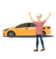 happy smiling man with new car vector image vector image